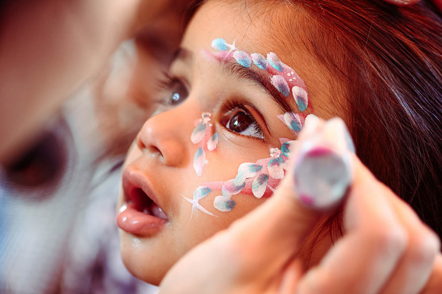 Litle Girl Face Painting at a wedding