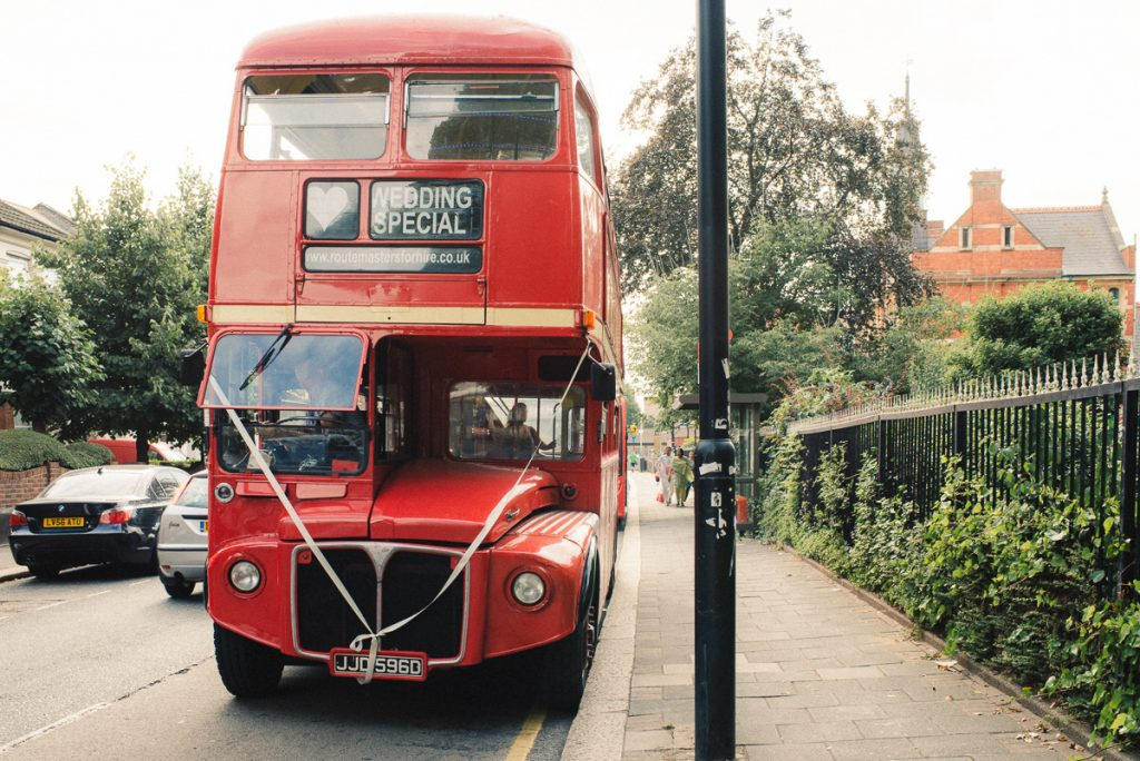 London red bus for weeding