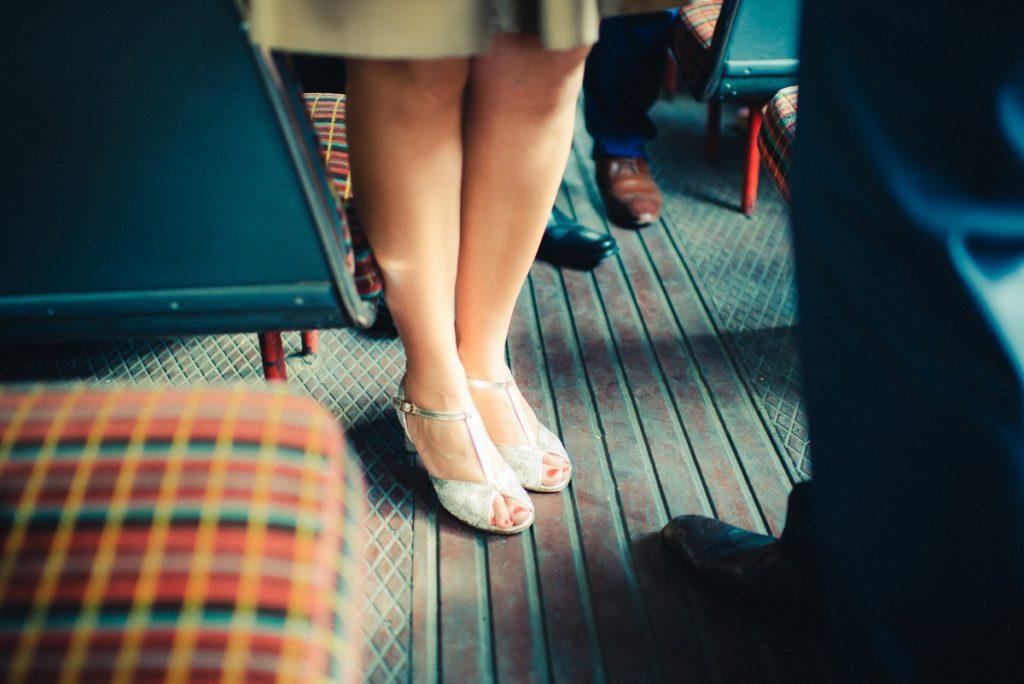 elegant shoes in a dek bus London Wedding