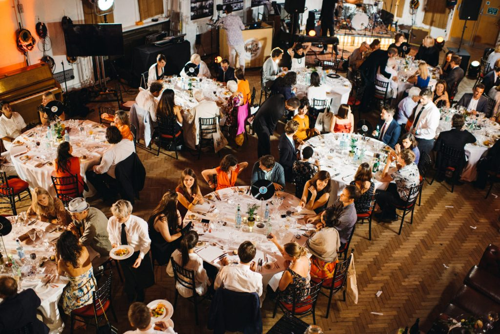 The dinner tables in abbey road studio during wedding