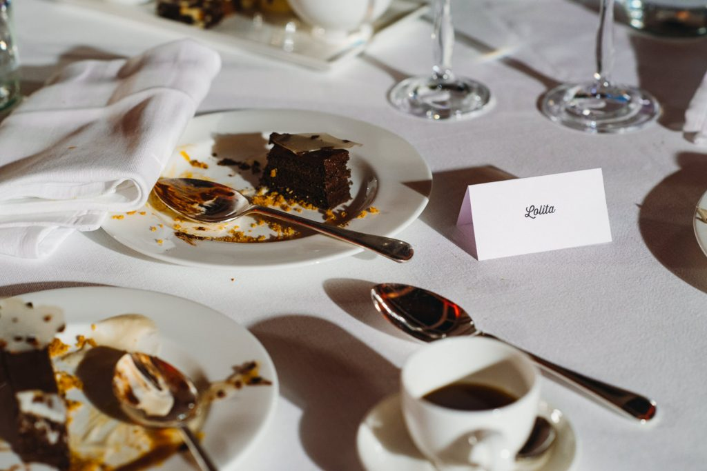 Wedding diner desert left over table lotita name card