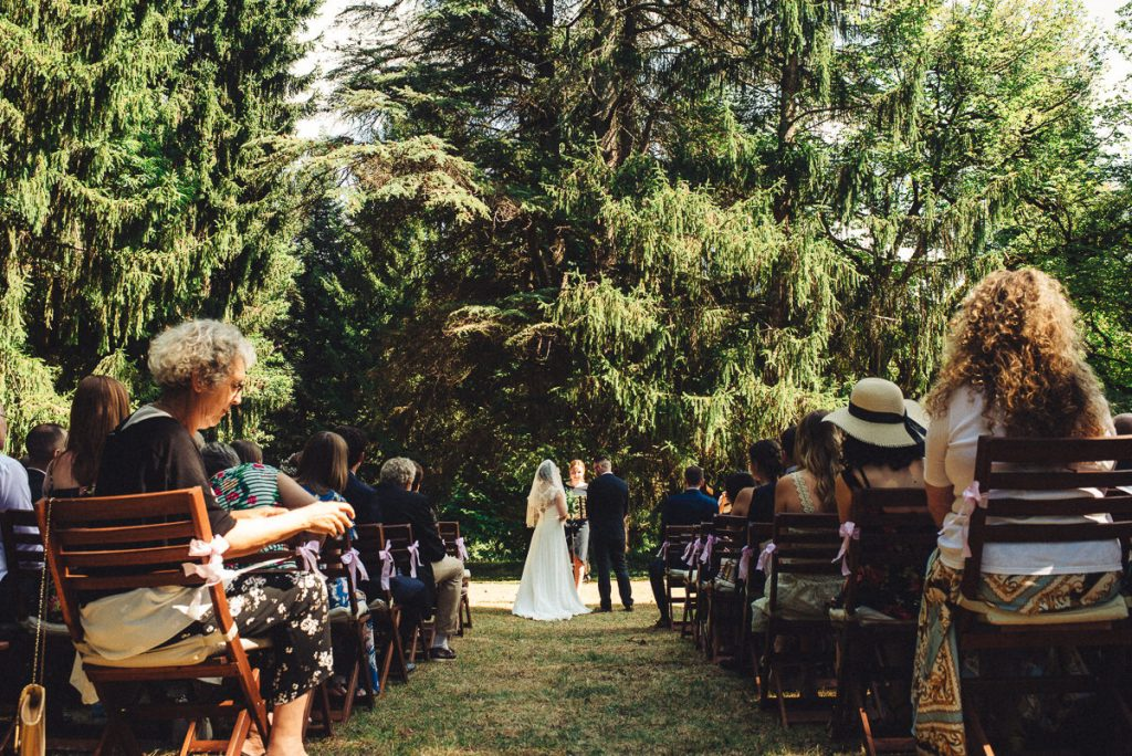 Outdoor, nature wedding ceremony at Chateau Saint Michel South of France
