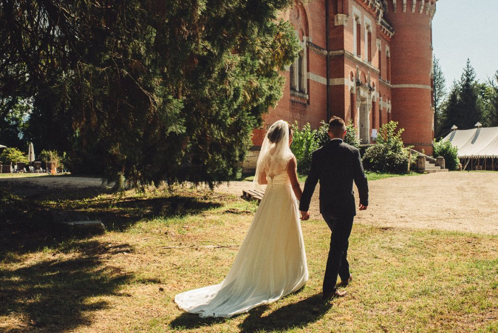 Bride and Groom at Chateau Saint Michel South of France on sunny wedding day