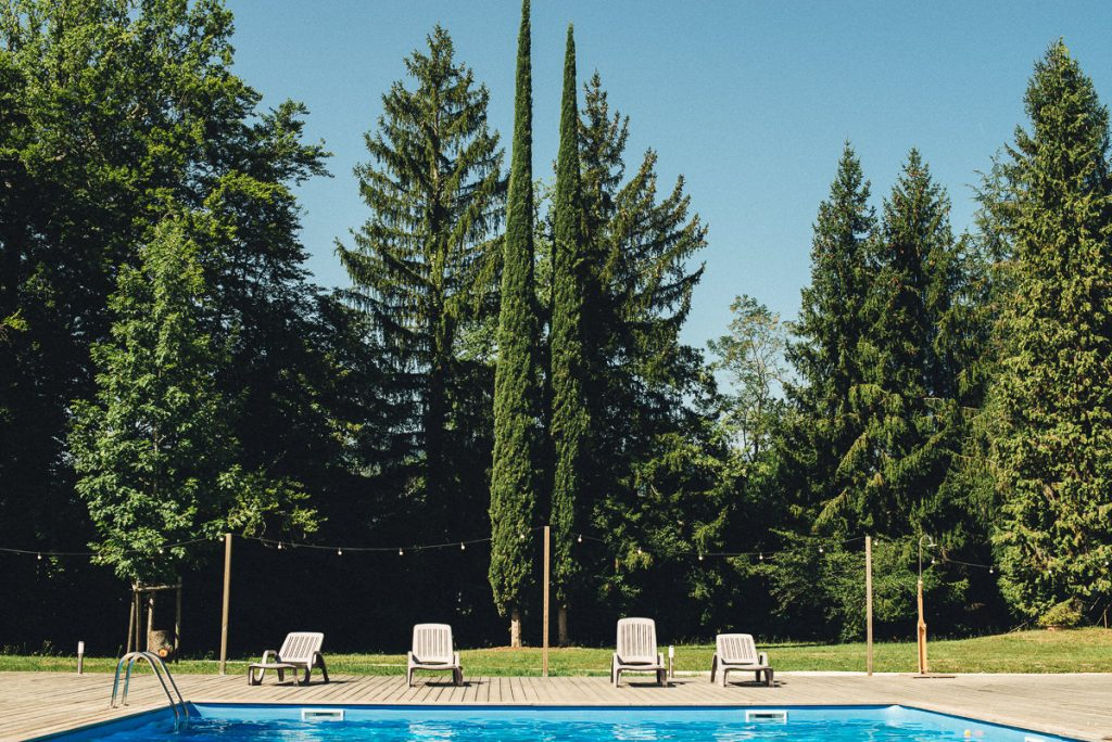 Cypresses and swiming pool at Chateau Saint Michel South of France